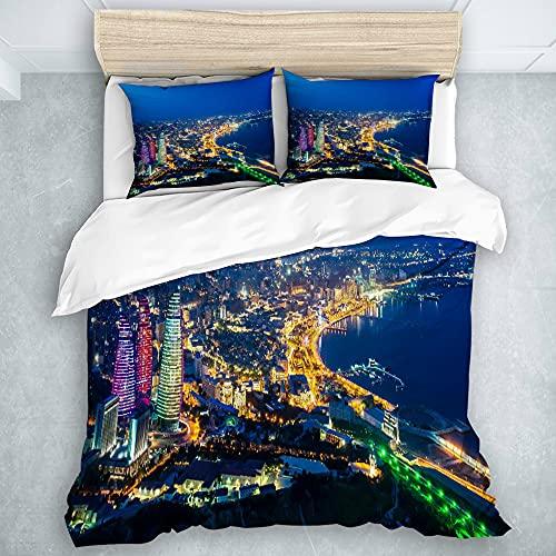 SAOIRSE Bettwäsche Bettbezug 3 Stück,Baku-Panorama, Mikrofaser-Bettdecke mit verstecktem Reißverschluss, für die ganze Saison (1 Bettbezug 102x94 Zoll + 2 Kissenbezug)
