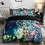 Proxiceen Juego de ropa de cama de microfibra con diseño bohemio étnico, diseño de mandala, 3 piezas, diseño clásico, supersuave (A1,260 x 230 cm + 50 x 75 cm x2)