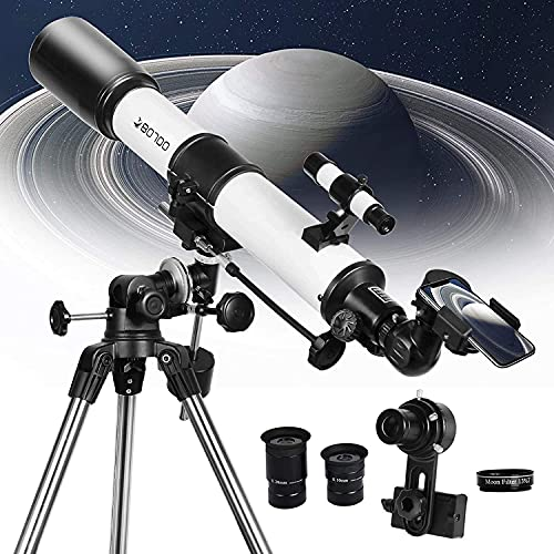 SOLOMARK Telescope, 80EQ Refractor Professional Telescope -700mm Focal Length Telescopes for Adults Astronomy, with 1.5X Barlow Lens Adapter for Photography and 13 Percent Transmission Moon Filter