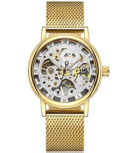 SEWOR Reloj para Hombre Hueca Tallado de Esqueleto mecánico Mano Viento Reloj de Pulsera con Banda de Malla (Oro Blanco)