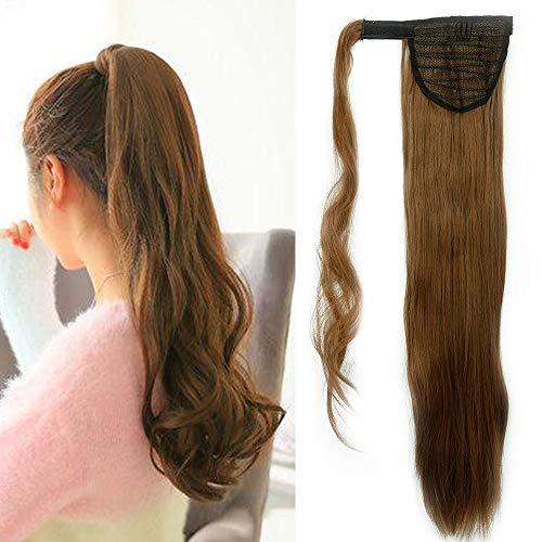 """Clip in Extensions Pferdeschwanz Haarteil Hellbraun Glatt Ponytail Extensions günstig Haarverlängerung 26\""""(66cm)-135g"""