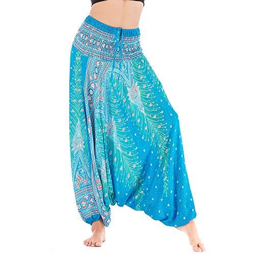 Nuofengkudu Damen Thai Baumwolle Haremshose Boho Muster Overall High Waist Lockere Bunte Bandeau Jumpsuit Hippie Leicht Luftig Yogahose Strandhose(L Blau Pfau,Einheitsgröße)