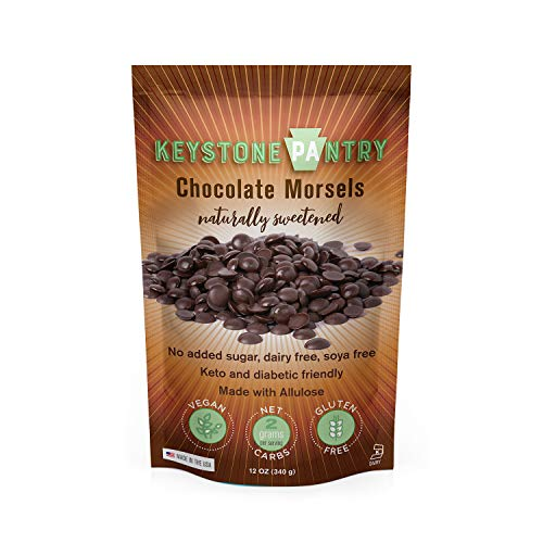 Keystone Pantry Keto Mini Dark Chocolate Chips 12 Oz Healthy, Low-Carb Snack, Perfect for Baking. Gluten, Soy, Dairy, & Sugar-Free Non-GMO Kosher Sweetened with Allulose. Vegan Chocolate, all natural