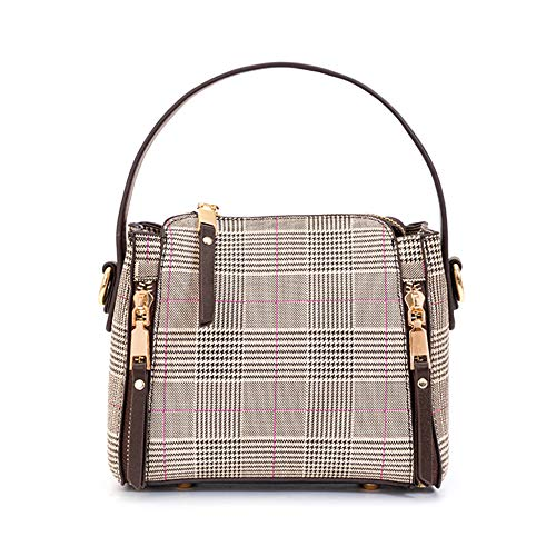 Bolso bandolera pequeño para mujer con cremallera a cuadros Bolso de hombro casual para teléfono celular monedero monedero para señoras (marrón)