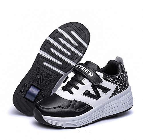 Miarui Kinderschuhe mit Rollen Sneakers mit Rollen Unisex-Kinder Skateboard Schuhe Mädchen Junge Mode Rollenschuhe Gymnastik Sneaker Sportschuhe Laufschuhe für Jungen Mädchen,Schwarz,37
