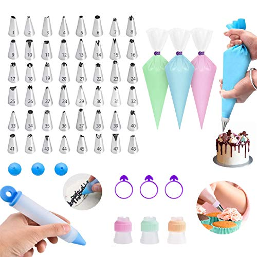 106pcs Cake Decorating Tools Sets with 50 Disposable Pastry Bags, 48 Numbered Icing Tips, 1 pcs reusable piping bag, 1 Decorating pen and More Accessories For Cake Cupcake Baking Lover DIY Beginners