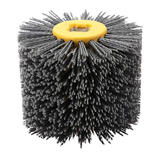 Nylonbürste, Drahtziehrad Pinsel Polieren Polierscheibe Körnung # 240, 19 mm Bohrung, Durchmesser: 120 mm, Schwarz Schleifbürste, für Holz Bürsten Maschine, Satiniermaschine