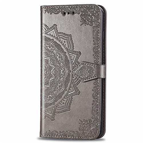 Samsung A70 Wallet Case Grey Mandala, Galaxy A70 Flip Case with Card Holder, Patterned Faux Leather Phone Cover with Magnet Kickstand & Wrist Strap for Samsung Galaxy A70 Case Women