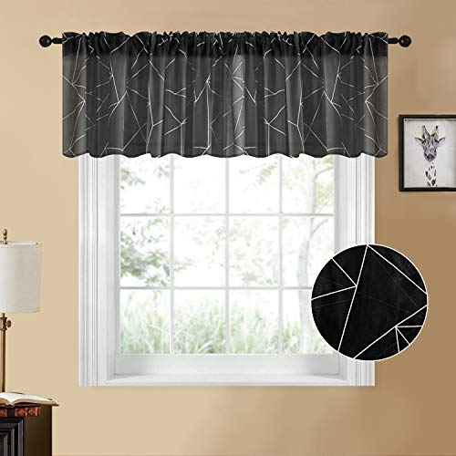 YOKISTG Sheer Kitchen Curtains Printed Geometry Valance 18 Inch Length Small Window Curtains for Basement Bathroom Cafe, Black, 2 Panels
