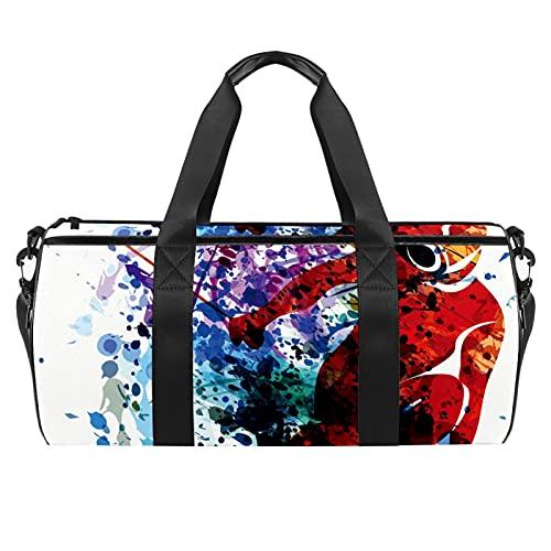 Watercolor Silhouette - Borsone cilindrico da viaggio con tasca bagnata, leggera, da viaggio, con tracolla per uomo e donna