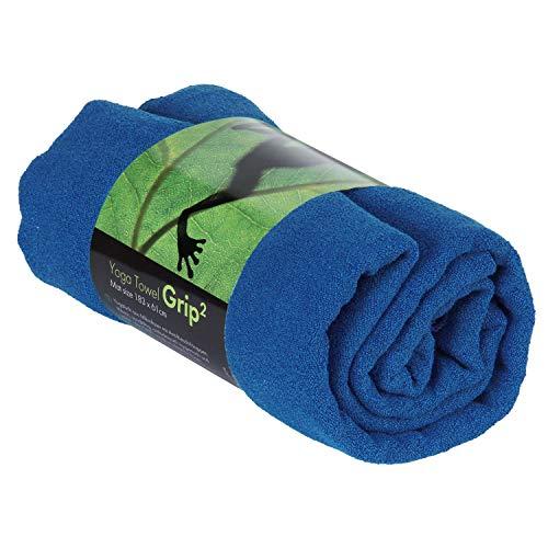 GRIP2 Yoga Towel, Yoga-Handtuch mit Antirutsch-Noppen, rutschfest, Mikrofaser-Yogatuch, sehr gut für Hot Yoga (dunkel-blau), Yogamattenauflage, antibakteriell