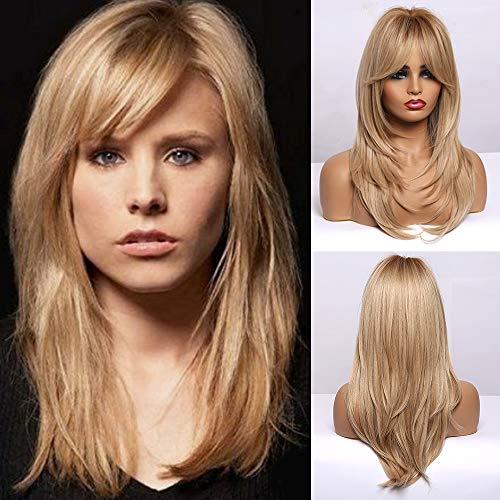 HAIRCUBE Perruques de Cheveux Synthétiques Longues Couches pour Femmes Blond Cendré
