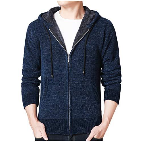 Best Deals! Men Knit Hooded Sweatshirt Slim-Fit SFE Winter Full Zip Plush Warm Sweater Jacket Standi...