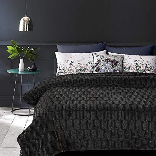 Chanasya Fuzzy Faux Fur Elegant Rectangular Embossed Throw Blanket - Plush Sherpa Microfiber Blanket for Bed Couch Full Queen Blanket - Dark Gray