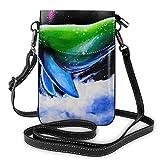 Milky Way Whale Moda Pequeño Teléfono Celular Monedero Multiusos Bolso De Hombro Billetera