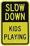 SmartSign 'Slow Down - Kids Playing' Sign | 12' x 18' 3M Engineer Grade Reflective Aluminum