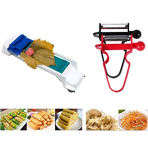 Dolma Roller Machine Sushi Vegetable Meat Roller Stuffed Grape Leaves Egg Spring Rolling Tool, 2 x Vegetable Fruit Peeler Included