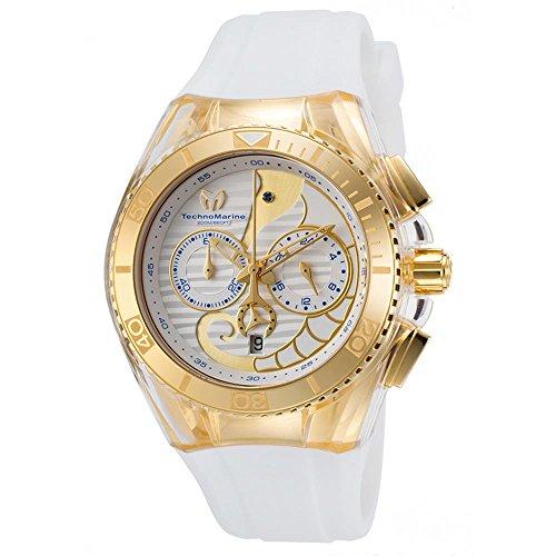 Technomarine Unisex-Armbanduhr 40mm Armband Silikon Weiß Gehäuse Edelstahl Quarz Zifferblatt Silber 115003