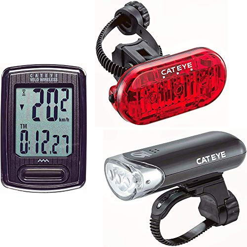 CAT EYE Bike Headlight, Tail Light and Computer Set, Velo Wireless, HL-EL135 and Omni 3 LED, Includes Mounting Hardware