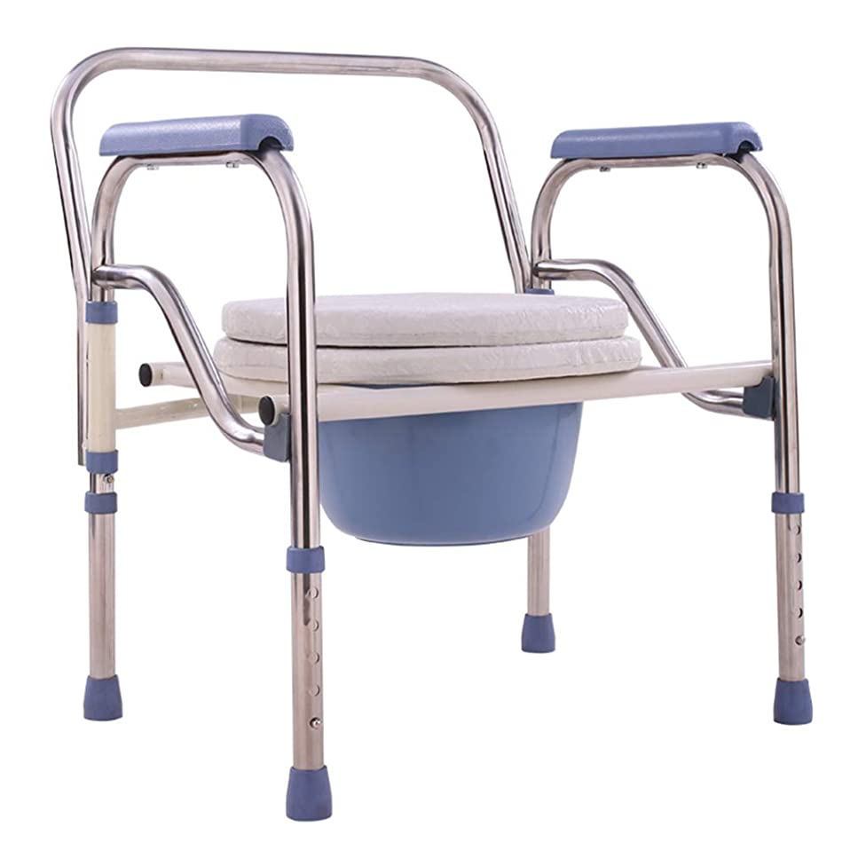 Commode Chair Stainless Steel Elderly Toilet Chair Pregnant Woman Commode Chair Fold Toilet Bowl Bathroom Accessibility Bath Chair Non-Slip Safety Commode Chair,A