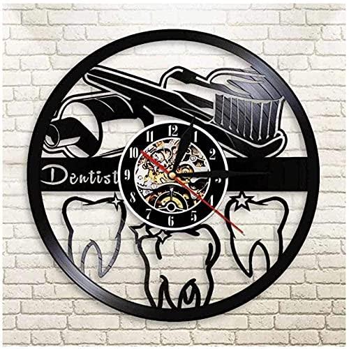 zgfeng Dientes Reloj de Pared de Vinilo Reloj de Pared de Vinilo Dormitorio único Colgante de Pared decoración Regalo Creativo Artista decoración para el hogar-Sin LED