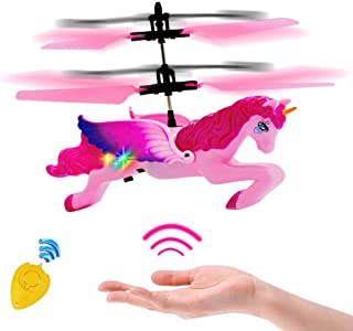 Minaliv Flying Unicorn Toy,RC and Hand Control Flight Helicopter Unicorn Fairy Toy Doll,Infrared Sensor Control Remote Control Child Toy,Birthday Holiday Xmas Party Supplies (Pink )