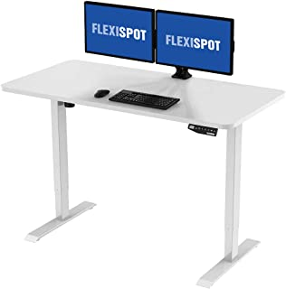 Flexispot Electric Stand Up Desk Workstation with Desktop, 48 x 30 Inches, Ergonomic Memory Controller Standing Desk Height Adjustable (White Frame + 48