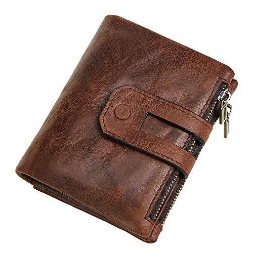 Billetera de hombre con doble cremallera, cuero multitarjeta retro embrague, RFID antirrobo, cartera para hombres, cartera casual de cuero de moda, café, Large,