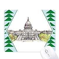 アメリカ合衆国議会議事堂 オフィスグリーン松のゴムマウスパッド