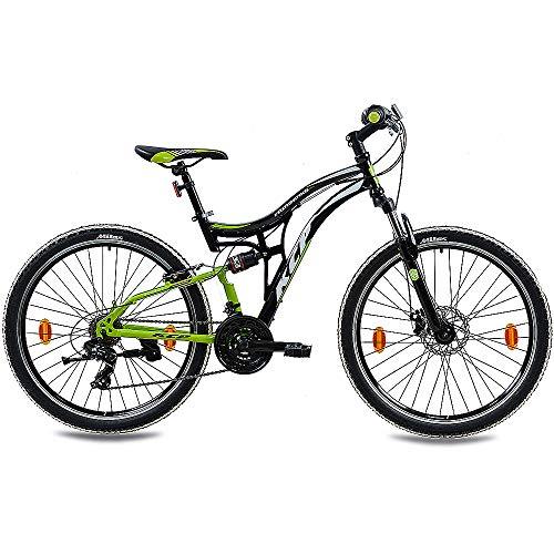 KCP Mountainbike Fully MTB Jugendrad 26″ Zoll Fairbanks mit 21G Shimano Vollfederung schwarz grün - 2