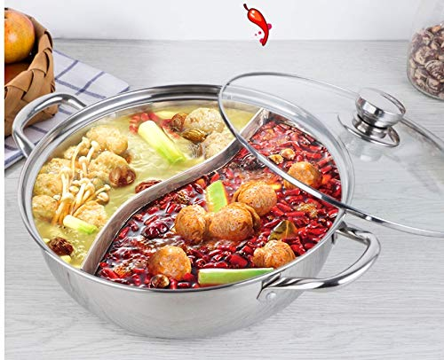 Shabu Shabu Hot Pot, Hot Plate Cookware Set Ramen Cooker, Hot Pot Soup Base Stainless Steel Pot Set, 12'(30cm) Hot Pot with Divider