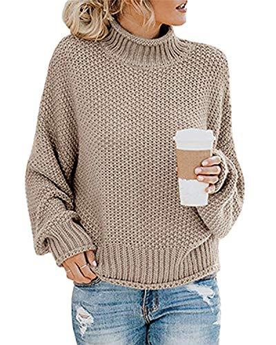 MINTLIMIT Damen Strickpullover Langarm Grobstrick Rollkragenpullover Winter Outwear Khaki XL