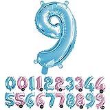Haioo Globo Número de Cumpleaños en Metalizado Ideal para Fiesta de cumpleaños y Aniversarios Hinchable y Deshinchable (Azul 9)
