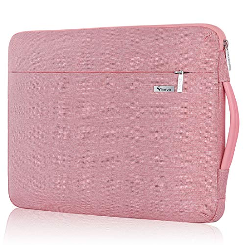 Voova 360° Protection Laptop Case 11 11.6 12 Inch Waterproof Laptop Bag Case Compatible with MacBook Air / Chromebook / Surface Pro 7 6 / iPad Pro 12.9 / 12.5 Inch Asus Acer HP Tablet Pink