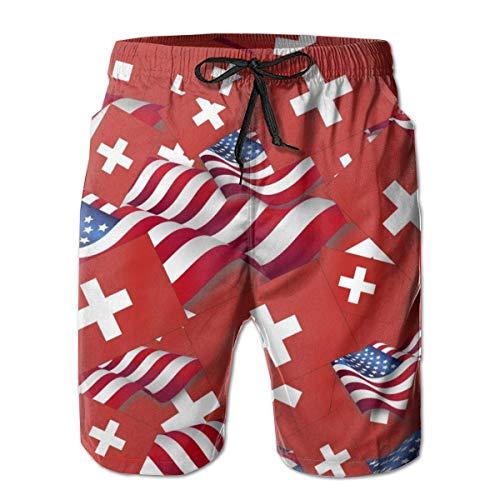 DLing Männer Badeshorts Quick Dry Badehose Schweiz Flagge mit Amerika Flagge Herren Badeanzüge,M