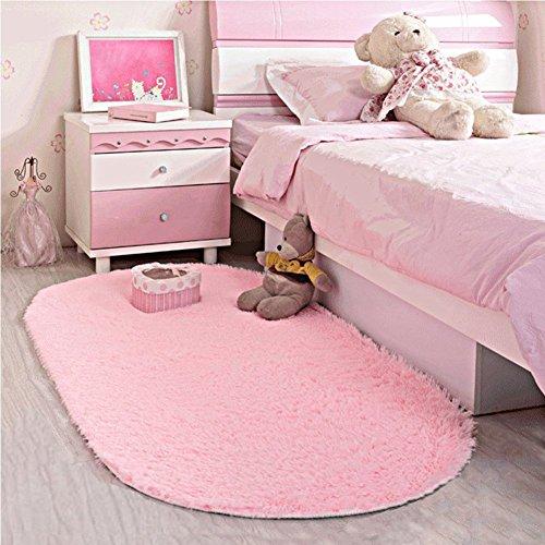 LOCHAS Ultra Soft Children Rugs Room Mat Modern Shaggy Area Rugs Home Decor 2.6' X 5.3', Pink