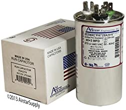 40 + 3 uf/Mfd Round Dual Universal Capacitor Replacement Amrad USA2274 Replacement - Used for 370 or 440 VAC, Made in The U.S.A.