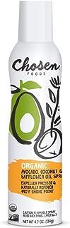 Chosen Foods Organic Avocado, Coconut and Safflower Oil Spray 4.7 oz. (1 Pack), Non-GMO, 490°F Smoke Point, Propellant-Fre...