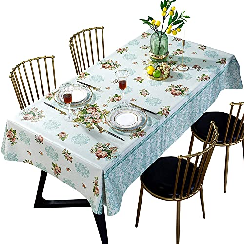 DARUITE Mantel Antimanchas, Impresas Elegante Flores Mantel PVC Plastico Mesa Rectangular Impermeable 137 x 185 cm de Comedor, Exterior, Cocina, Picnic
