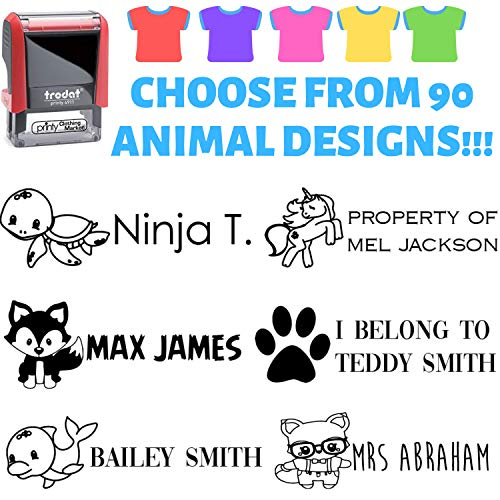 Kids Clothing Stamp - Choose Your Animal - Black Ink Stamp Your Clothes with Your Custom Name. Great for Kids T-Shirts Clothing Stamp Customized. 2 Line Stamper. Stamp Your Name on Prime Clothes.