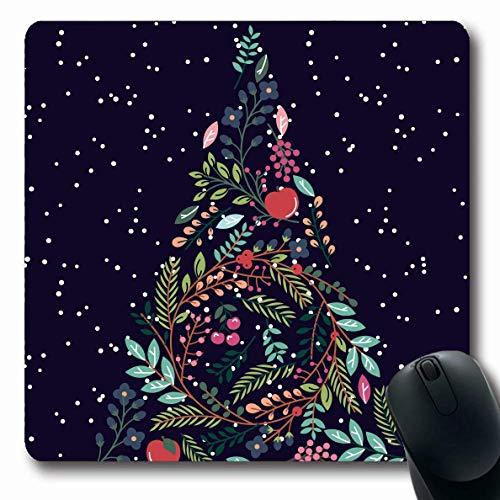 Mousepad Floral Botanical Weihnachten Tanne Birnenparty Flourish Tree Natur Mistel Gezeichnete Pflanze Feiertage Schnee Längliche Spiele Gummi Arbeit Büro 25X30Cm Maus Matte Mouse