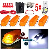 5x Classic Amber Cab Roof Marker Running Lamps 194 LED Light Bulbs Replacement fit for Truck 4x4 Fit 1980-1997 Replacement fit for Ford F250 for Jeep ATV Off-Road Pickup Car Folklift Top Lamps etc