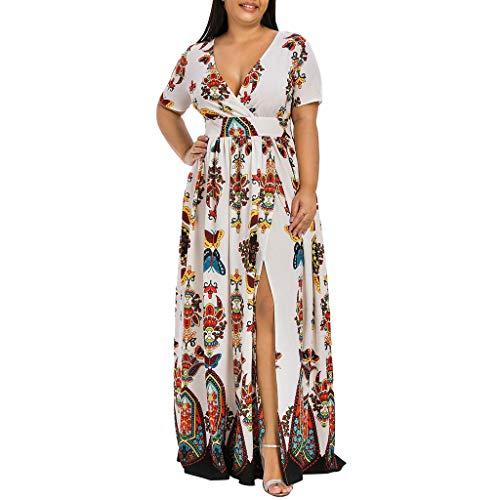VEMOW Plus Size Elegante Damen Frauen Casual Kurzarm Kalt Schulter Boho Blumendruck Casual Täglichen Party Strand Langes Kleid Schulterfrei Strandkleid(Y3-Weiß, 54 DE / 5XL CN)