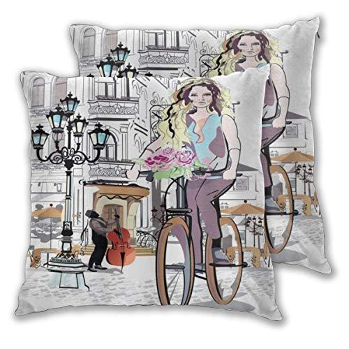 MOBEITI Juego de 2 Decorativo Funda de Cojín Parisino con Bicicleta y...