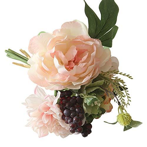 Igemy Bouquet de fleurs artificielles en soie Faux Fleurs Pivoine Floral Bouquet de mariage de mariage Hydrangea Décor rose