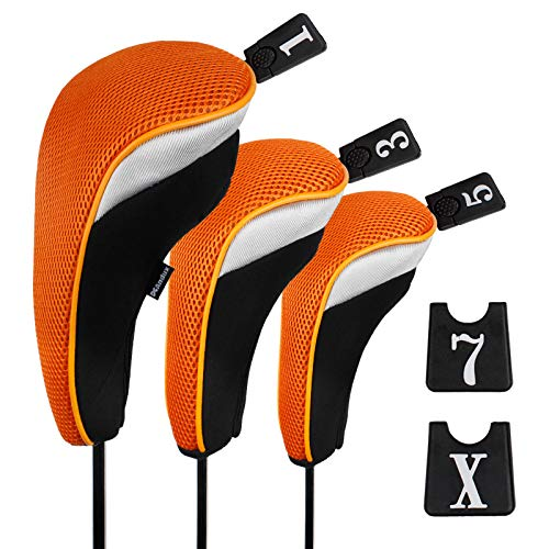 Andux Funda de Palo de Golf para Drivers Maderas con Intercambiable No. Etiqueta Set de 3 MT/mg06 Negro/Naranja