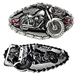 YSpring Fashion Belt Buckle Motorcycle with Gear Chains & Flame Men Cowboy Belt Buckle Punk Accessories