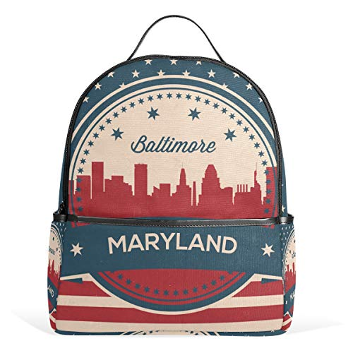 Bandera Estadounidense Estado de Maryland Baltimore Vintage Símbolo Mochila Mochila Viaje Escolar Guardería para Adolescentes Niños niñas
