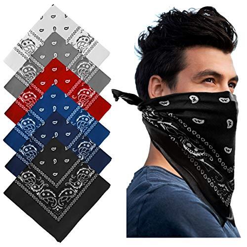 MEISHANG Paisley Stirnbänder, 6 Stück Cowboy Bandana Kopftuch Halstuch Haar Schal Nickituch Vierecktuch Taschentücher mit Cashew Muster Baumwolle Mehrzweck für Damen und Herren 55 x 55 cm (Bunte-H)