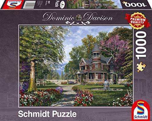 Schmidt Spiele- Dominic Davison - Puzzle de 1000 Piezas, diseño de casa de Caballero con Torres, Color carbón (59617)